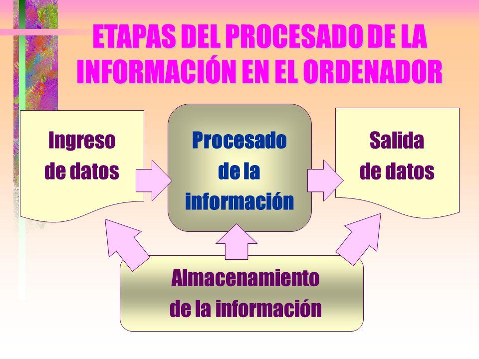 ETAPAS DEL PROCESADO DE LA INFORMACIÓN EN EL ORDENADOR