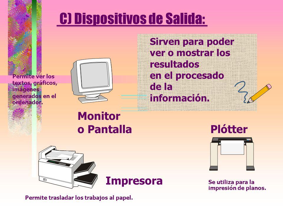 C) Dispositivos de Salida: