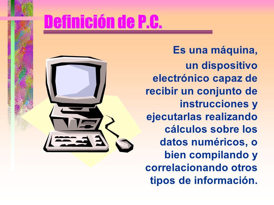 Definición de P.C. Es una máquina,