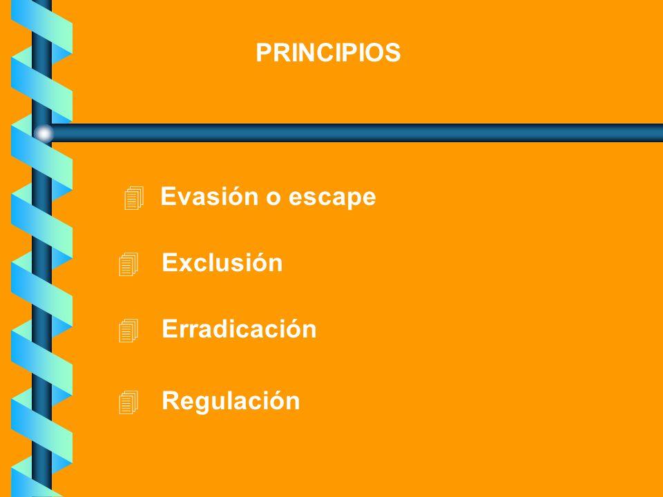 PRINCIPIOS Evasión o escape Exclusión Erradicación Regulación
