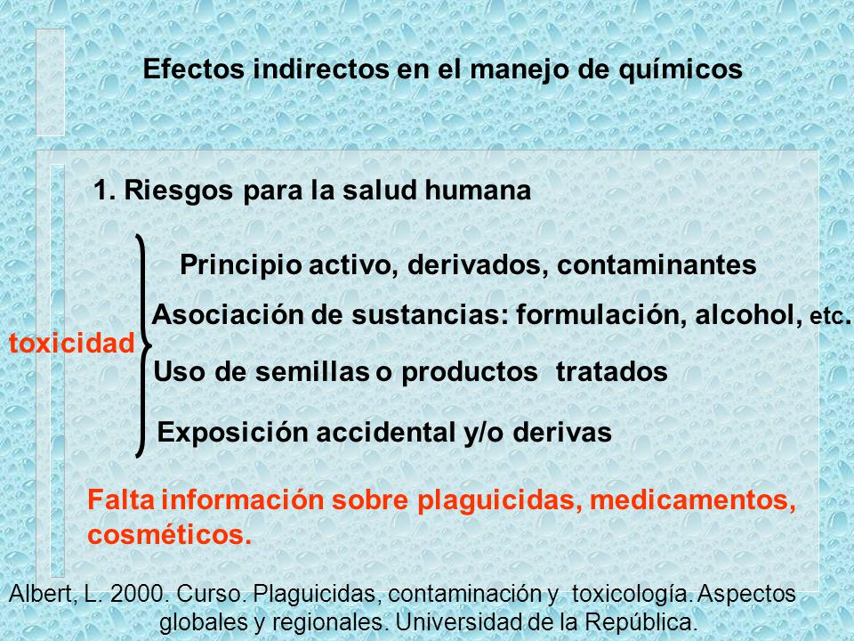 Efectos indirectos en el manejo de químicos
