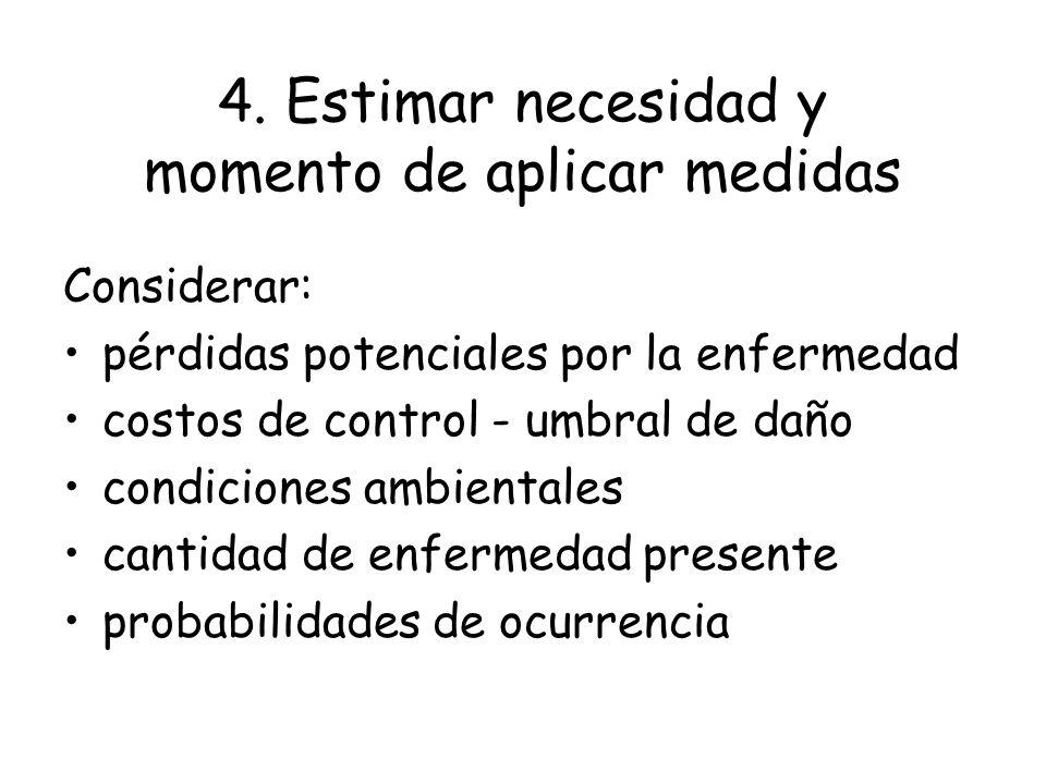 4. Estimar necesidad y momento de aplicar medidas