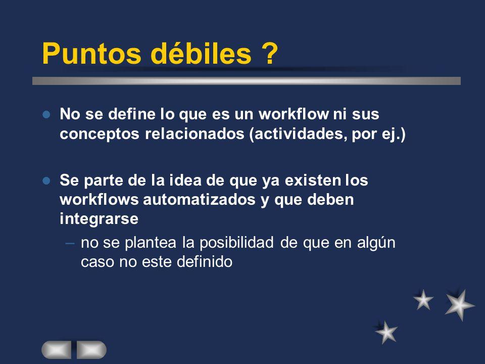 Puntos débiles No se define lo que es un workflow ni sus conceptos relacionados (actividades, por ej.)