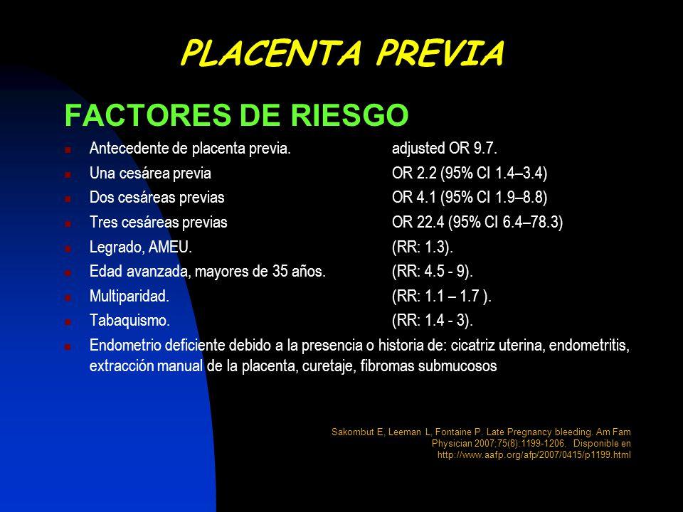 PLACENTA PREVIA FACTORES DE RIESGO
