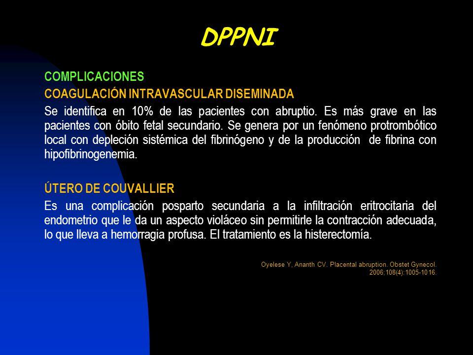 DPPNI COMPLICACIONES COAGULACIÓN INTRAVASCULAR DISEMINADA
