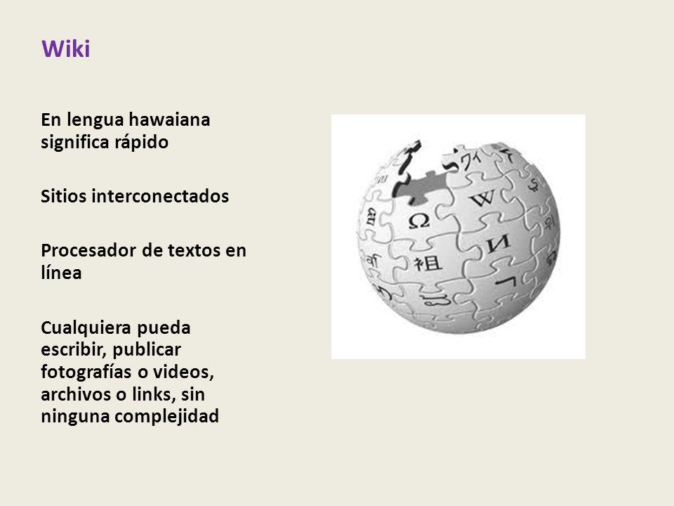 Wiki En lengua hawaiana significa rápido Sitios interconectados