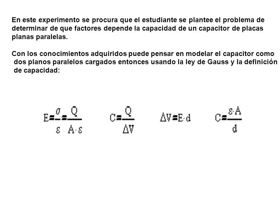 En este experimento se procura que el estudiante se plantee el problema de