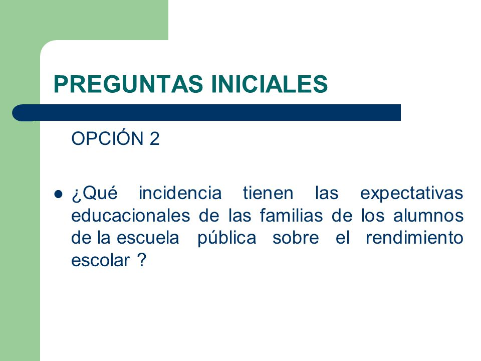 PREGUNTAS INICIALES OPCIÓN 2