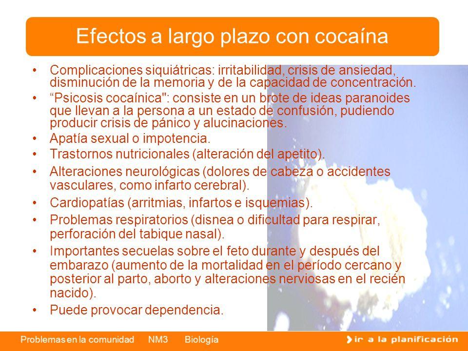 Efectos a largo plazo con cocaína