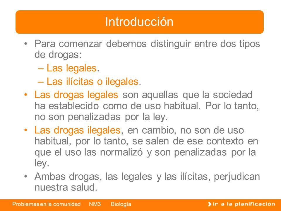 Introducción Para comenzar debemos distinguir entre dos tipos de drogas: Las legales. Las ilícitas o ilegales.