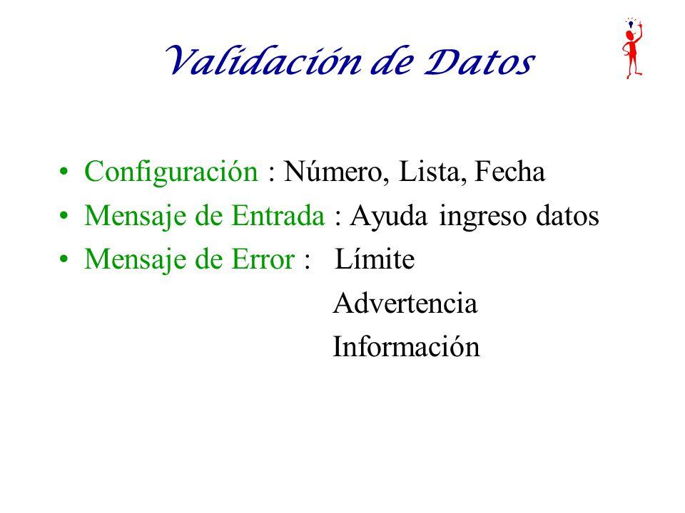 Validación de Datos Configuración : Número, Lista, Fecha