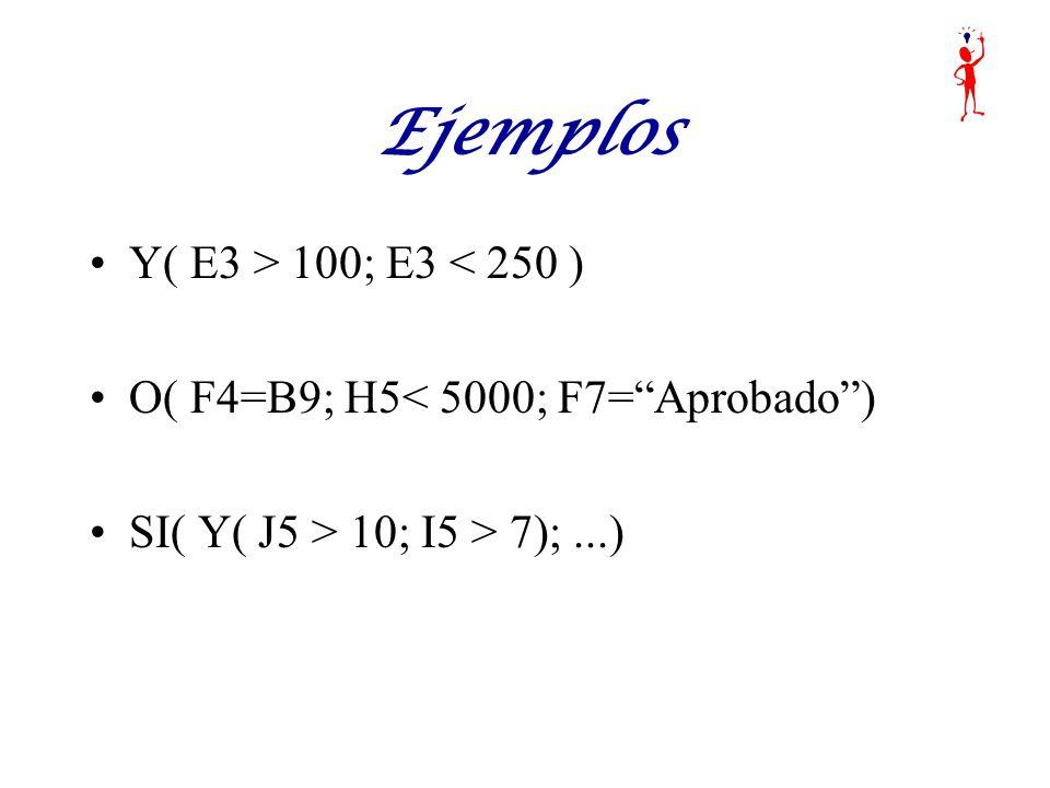 Ejemplos Y( E3 > 100; E3 < 250 )