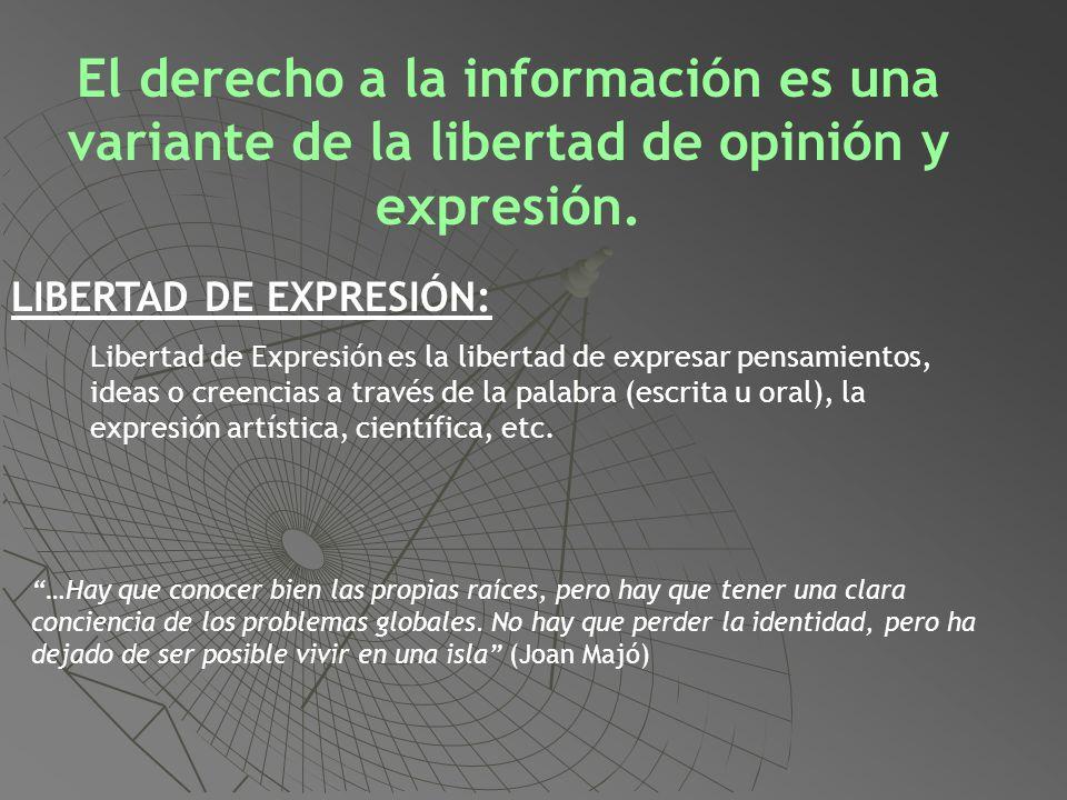 El derecho a la información es una variante de la libertad de opinión y expresión.