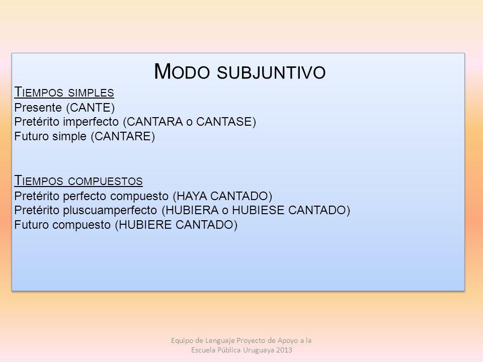 Modo subjuntivo Tiempos simples Tiempos compuestos Presente (CANTE)