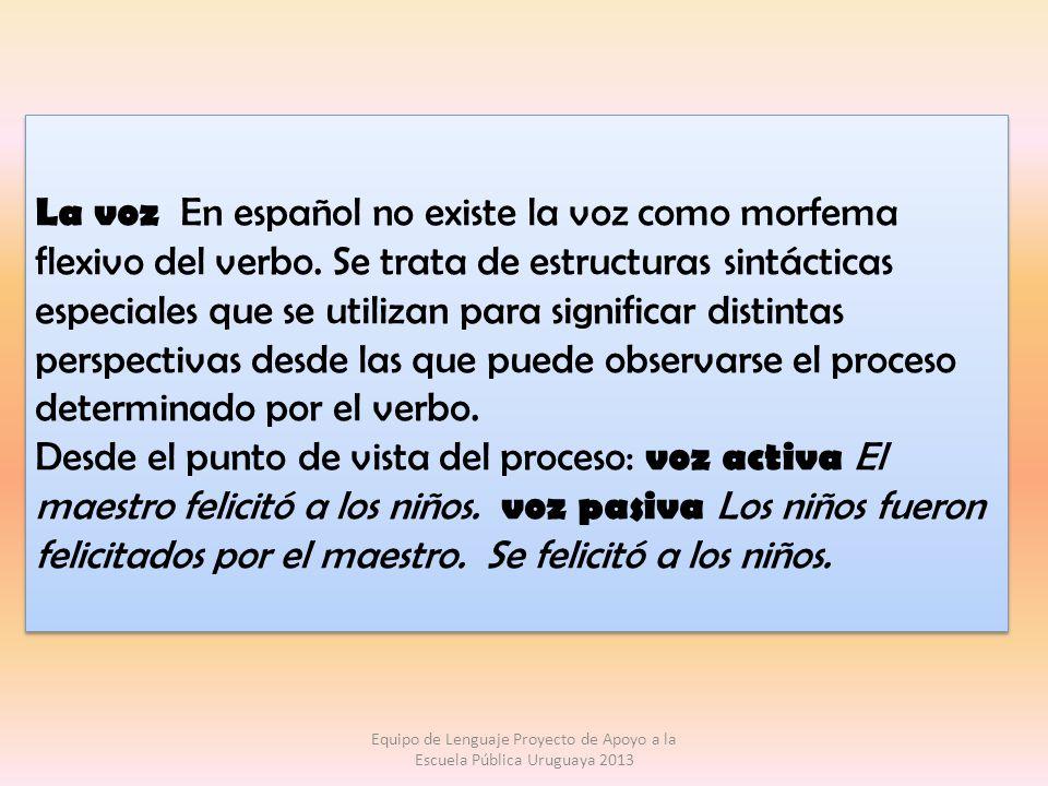La voz En español no existe la voz como morfema flexivo del verbo