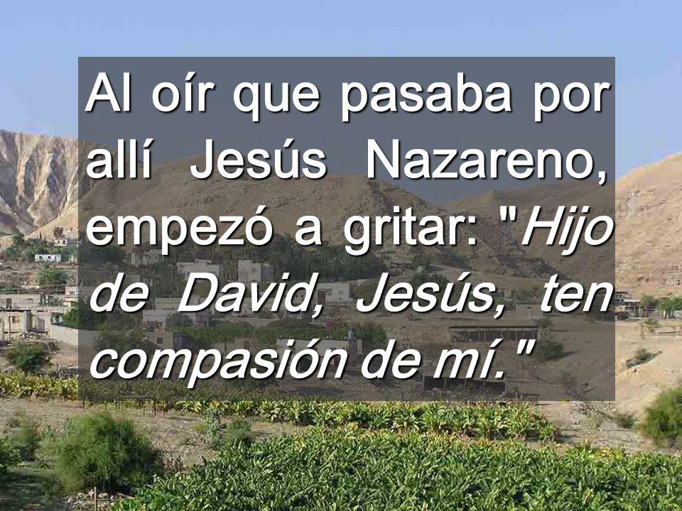 Al oír que pasaba por allí Jesús Nazareno, empezó a gritar: Hijo de David, Jesús, ten compasión de mí.