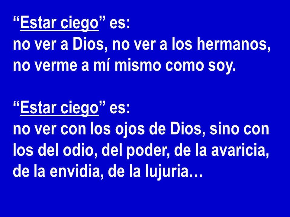 Estar ciego es: no ver a Dios, no ver a los hermanos, no verme a mí mismo como soy.