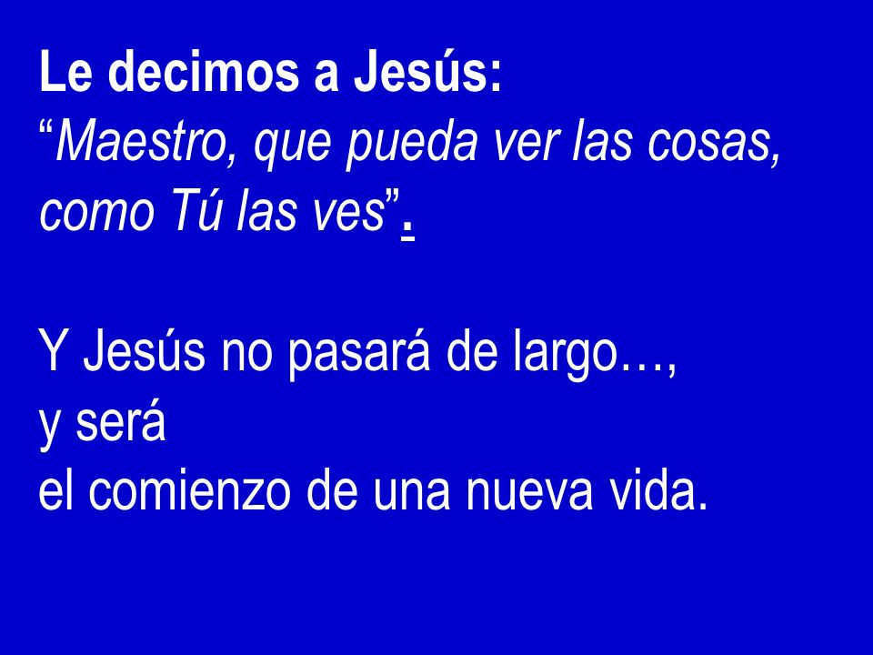 Le decimos a Jesús: Maestro, que pueda ver las cosas, como Tú las ves . Y Jesús no pasará de largo…,