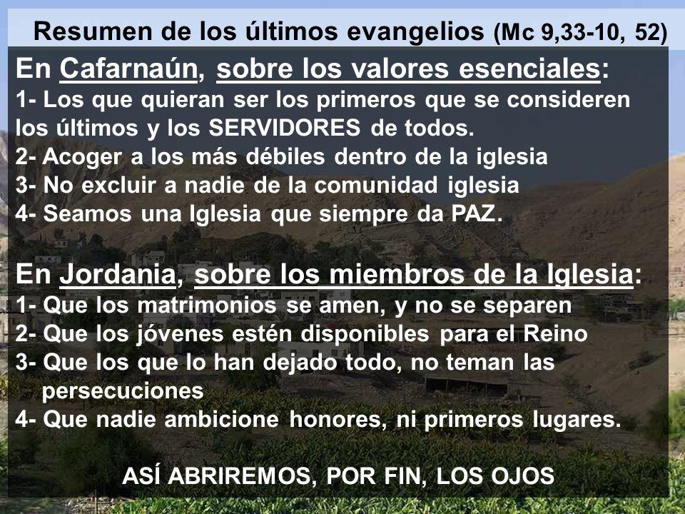 Resumen de los últimos evangelios (Mc 9,33-10, 52)