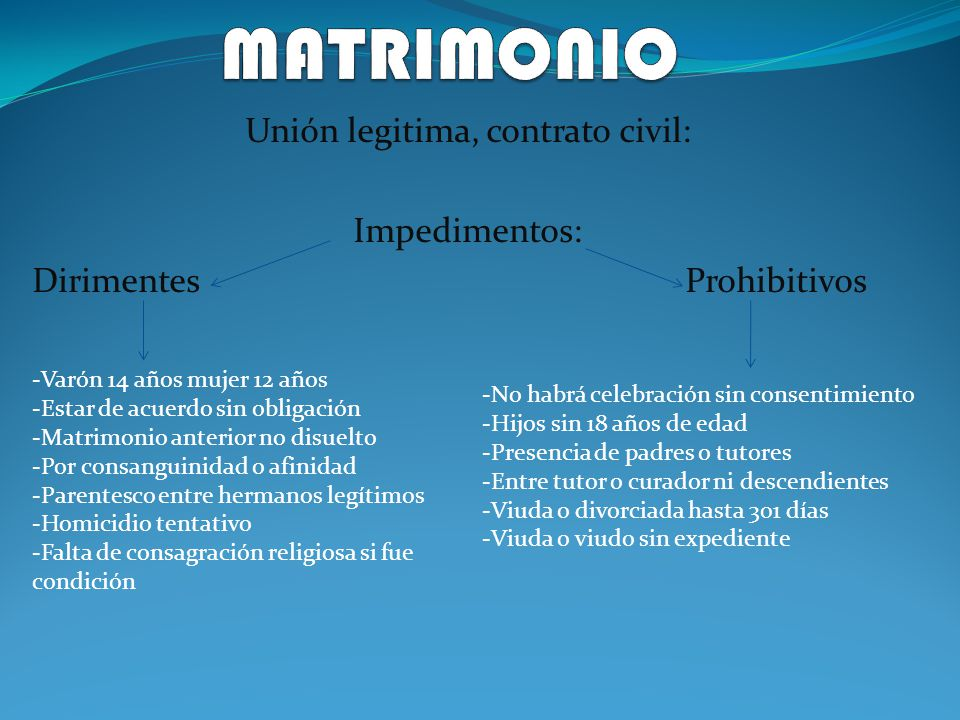 Unión legitima, contrato civil: Impedimentos: Dirimentes Prohibitivos