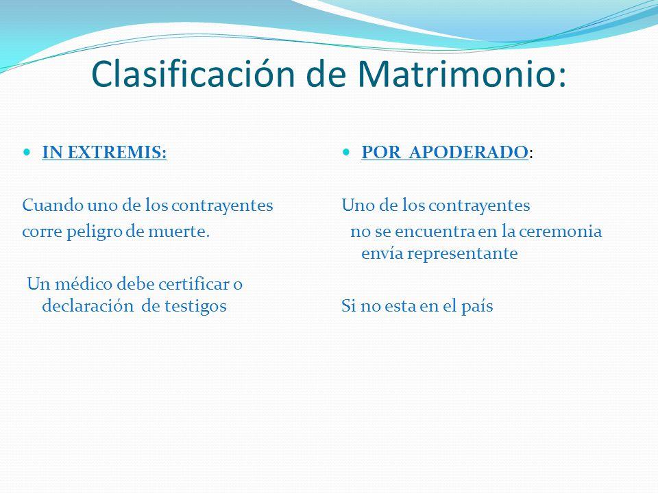 Clasificación de Matrimonio: