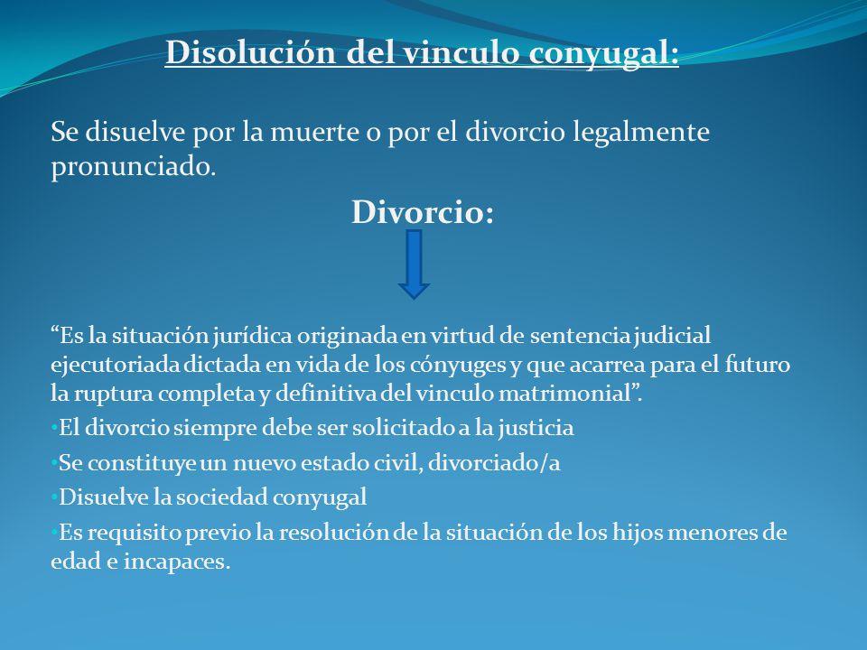 Disolución del vinculo conyugal: