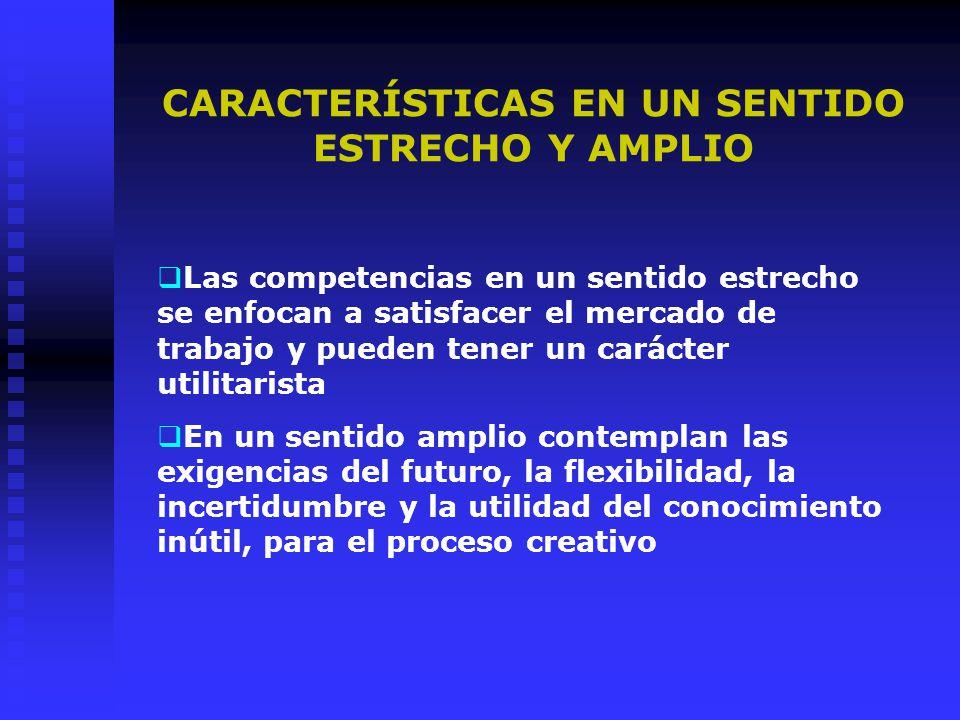 CARACTERÍSTICAS EN UN SENTIDO ESTRECHO Y AMPLIO