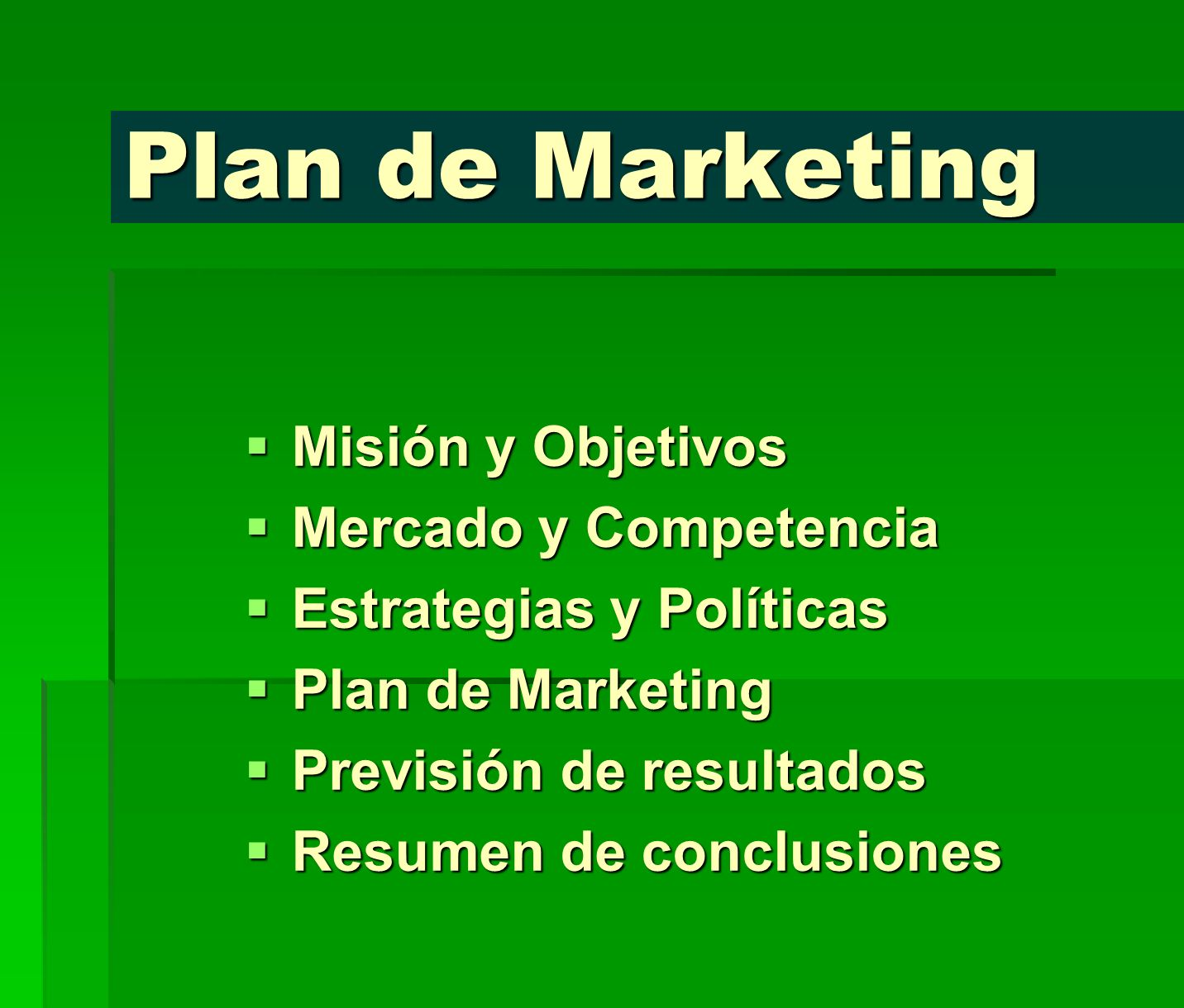 Plan de Marketing Misión y Objetivos Mercado y Competencia