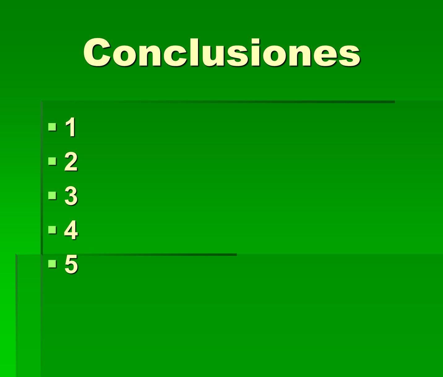 Conclusiones 1 2 3 4 5 RESUMEN DE CONCLUSIONES. Breve y claro