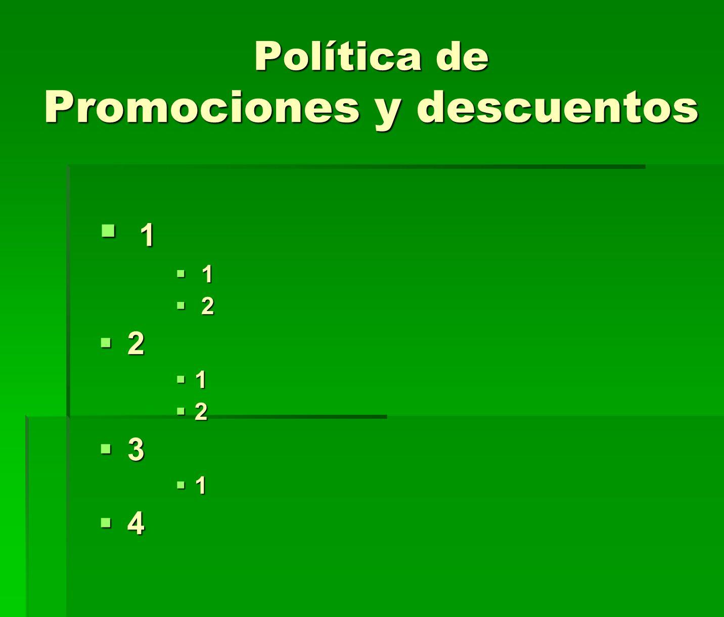 Política de Promociones y descuentos
