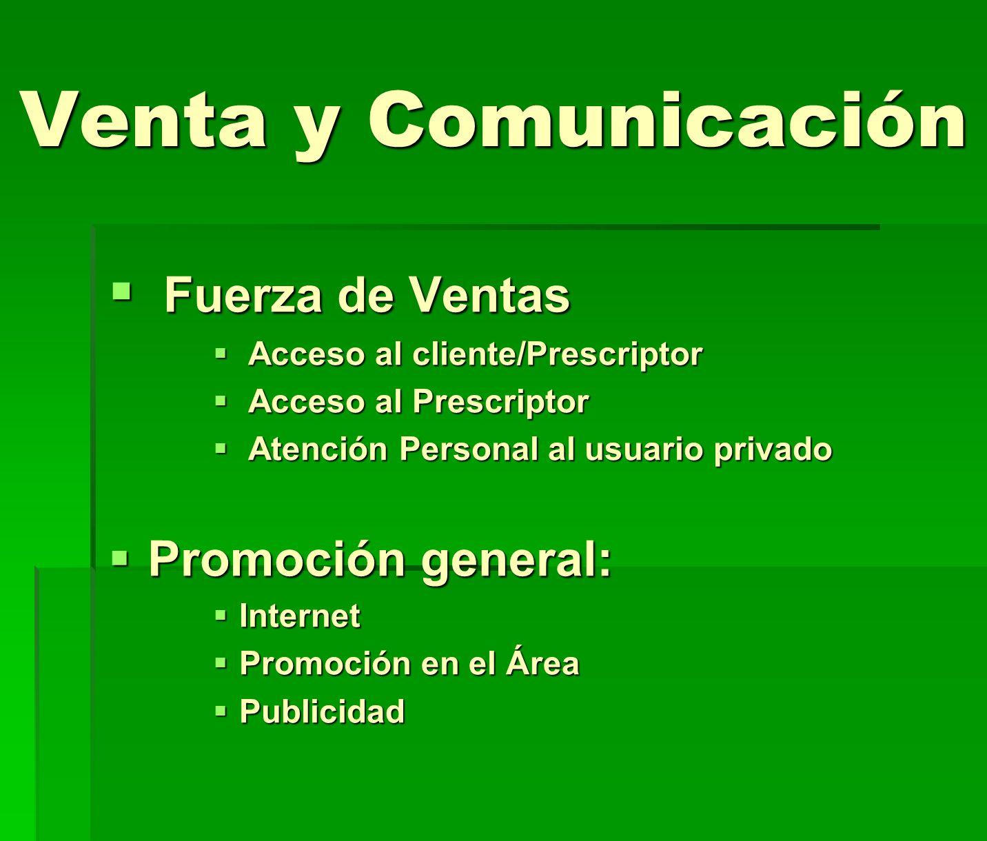 Venta y Comunicación Fuerza de Ventas Promoción general: