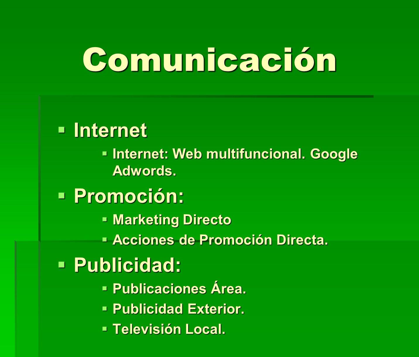Comunicación Internet Promoción: Publicidad: