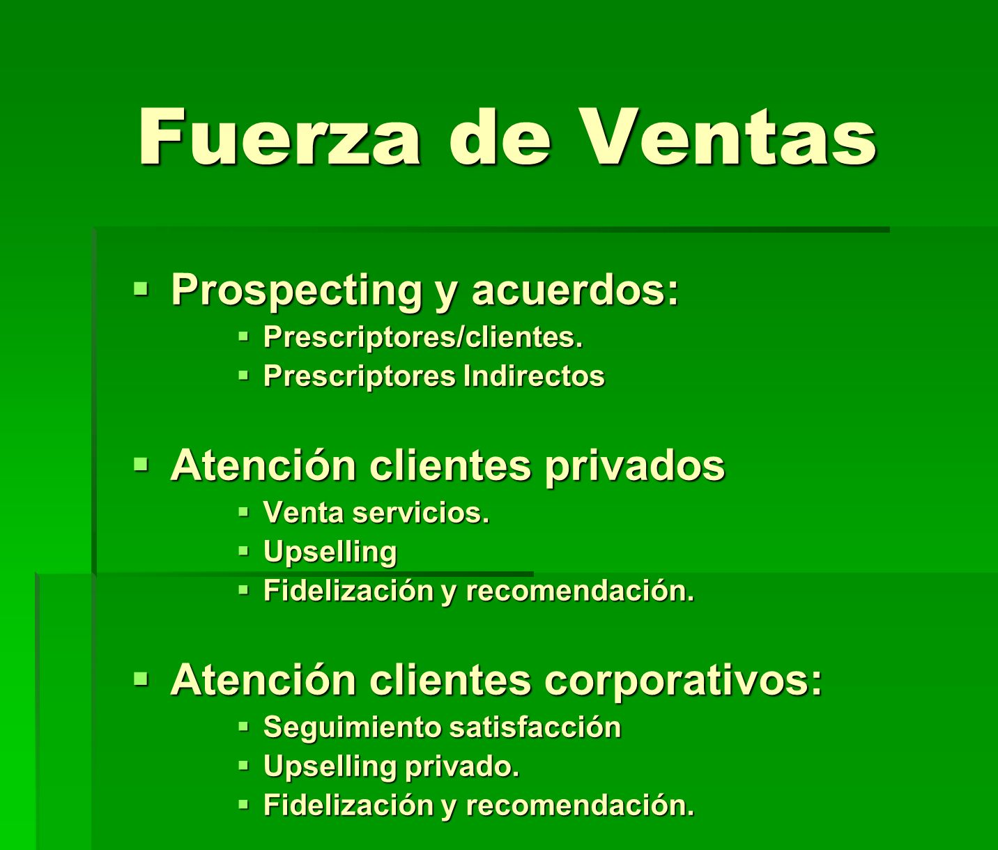 Fuerza de Ventas Prospecting y acuerdos: Atención clientes privados