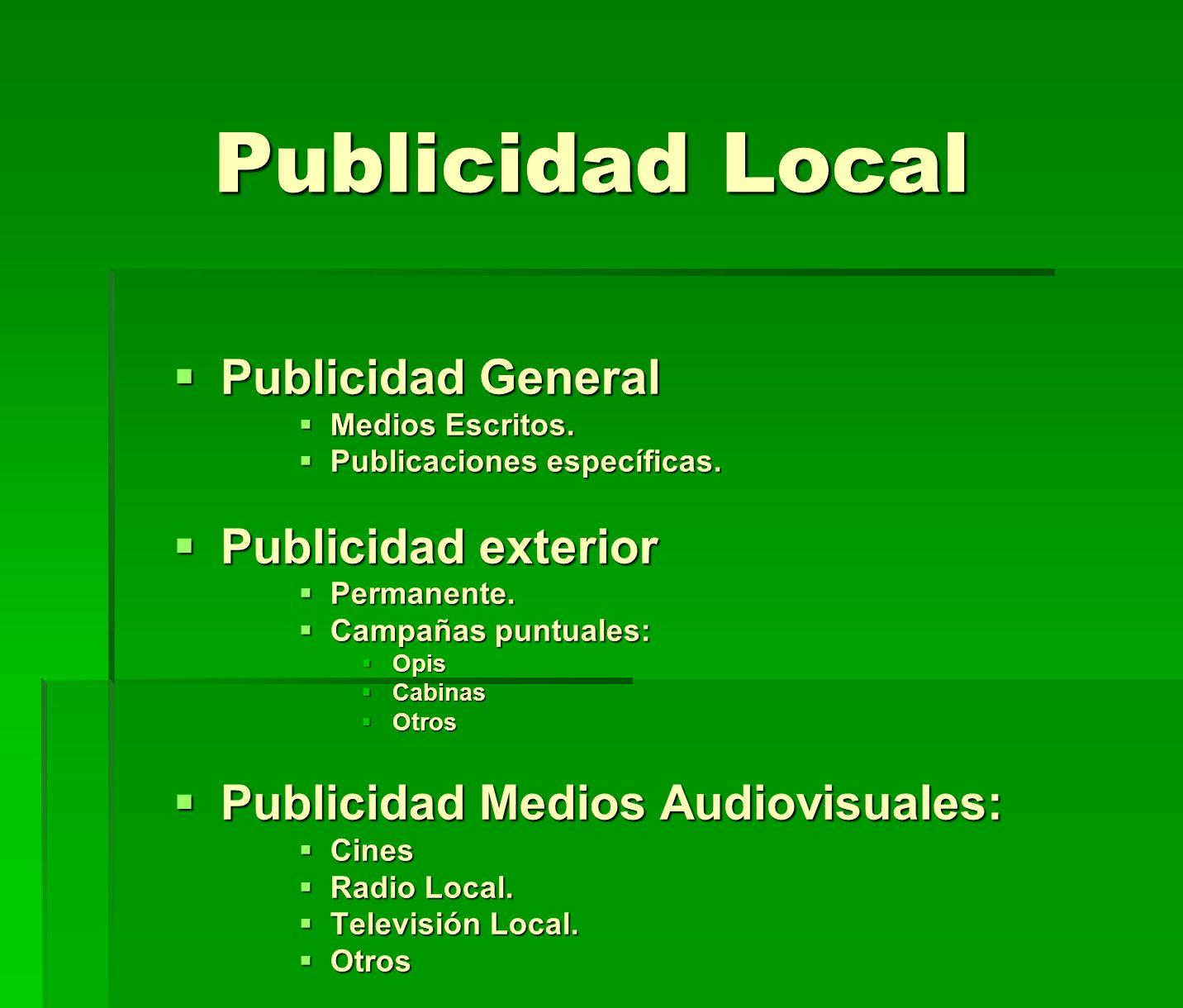 Publicidad Local Publicidad General Publicidad exterior
