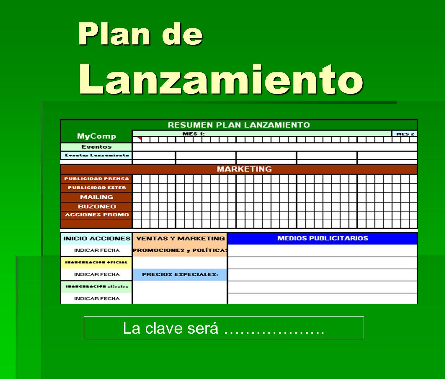 Plan de Lanzamiento La clave será ……………….