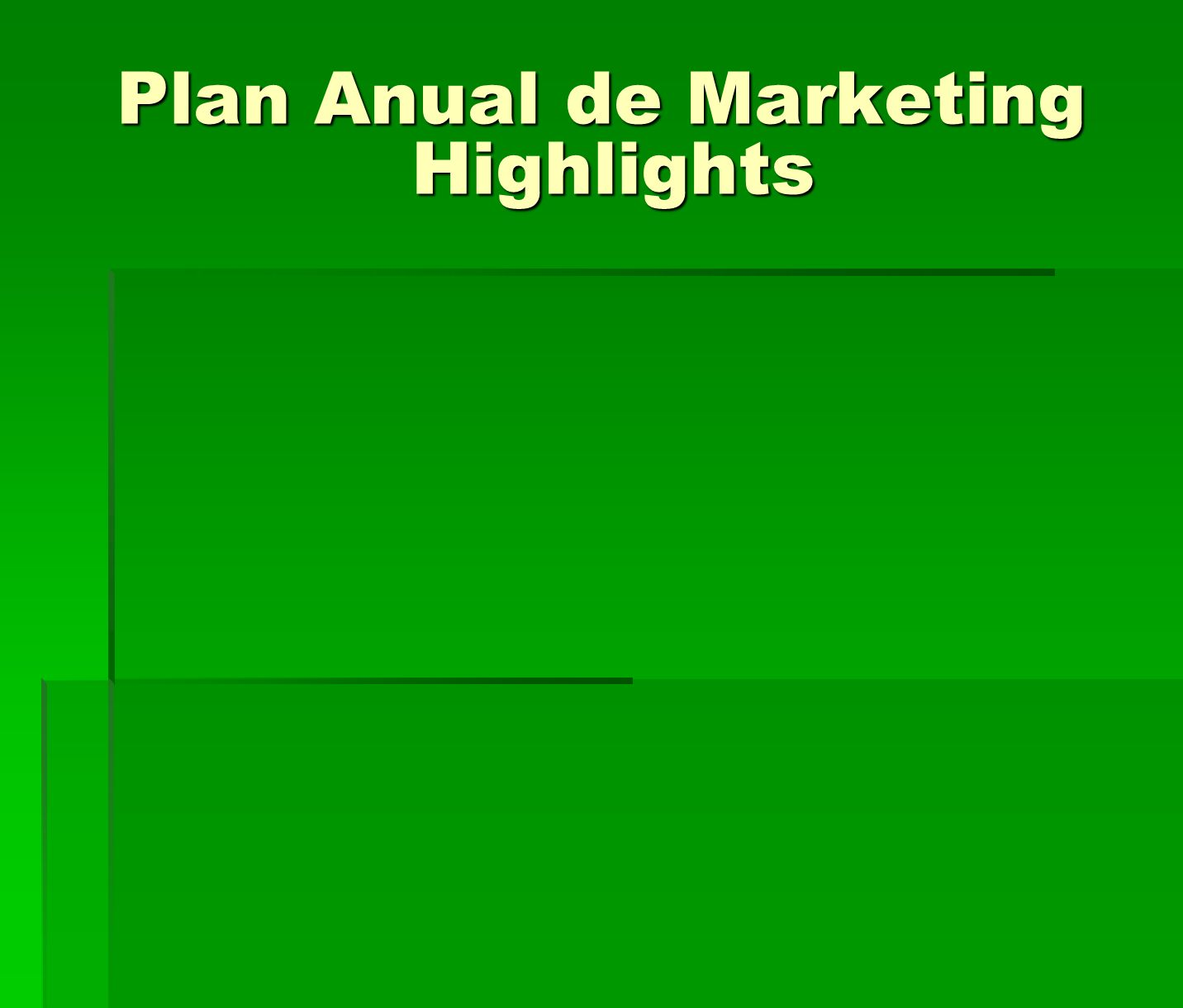 Plan Anual de Marketing Highlights