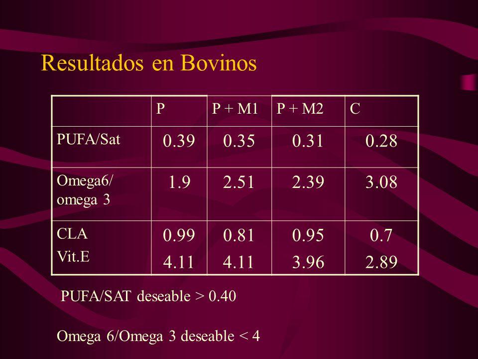 Resultados en Bovinos P. P + M1. P + M2. C. PUFA/Sat. 0.39. 0.35. 0.31. 0.28. Omega6/ omega 3.
