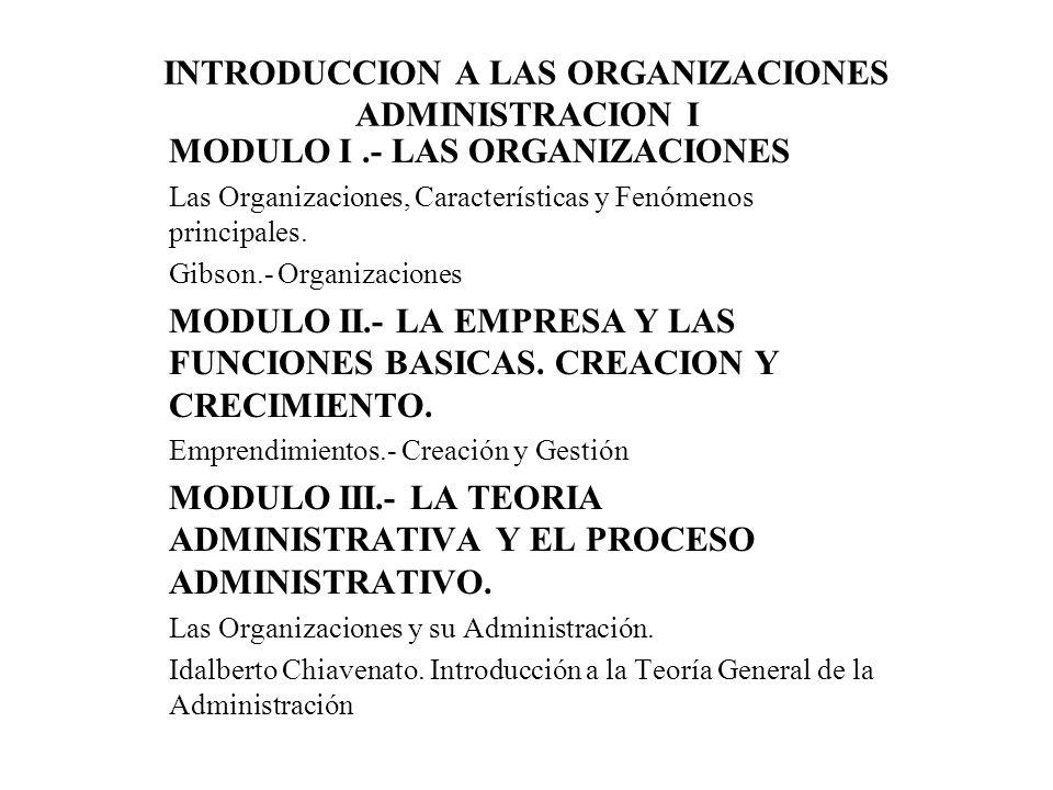 INTRODUCCION A LAS ORGANIZACIONES ADMINISTRACION I