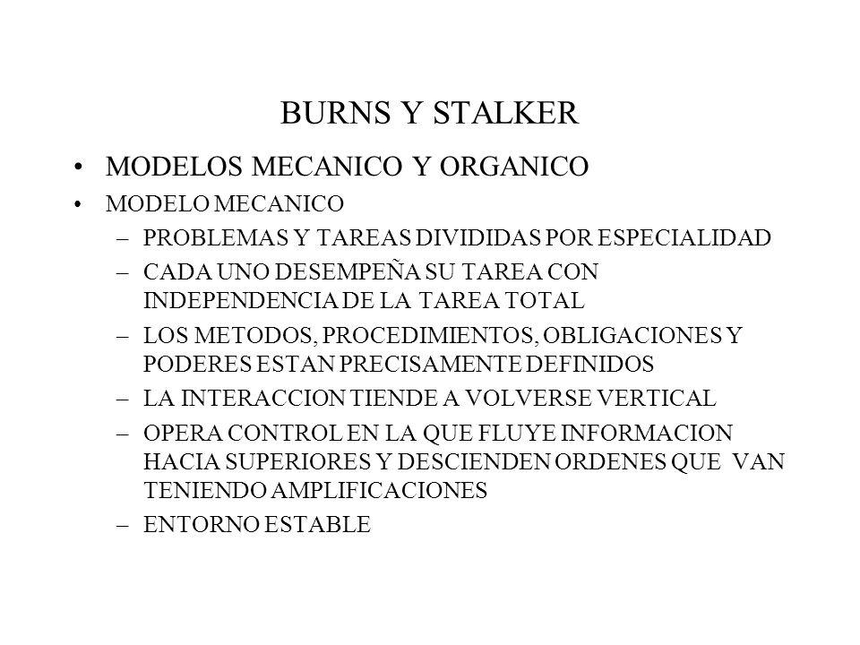 BURNS Y STALKER MODELOS MECANICO Y ORGANICO MODELO MECANICO