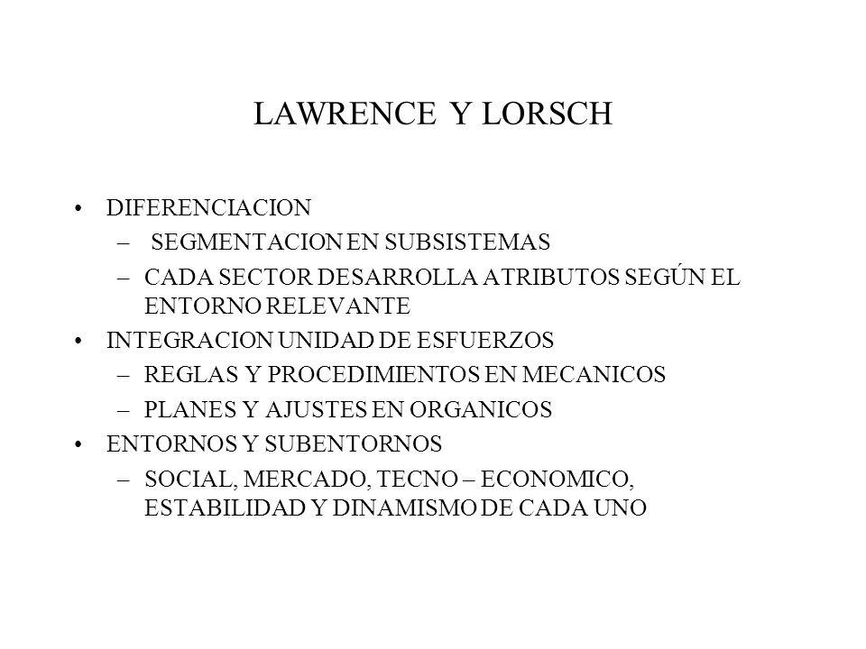 LAWRENCE Y LORSCH DIFERENCIACION SEGMENTACION EN SUBSISTEMAS