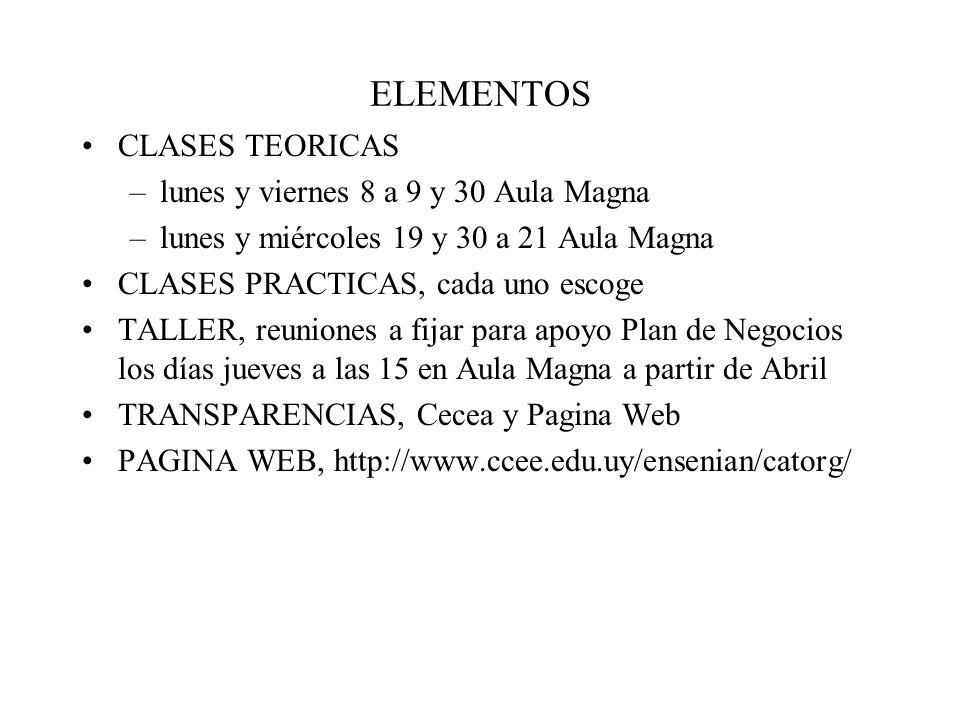 ELEMENTOS CLASES TEORICAS lunes y viernes 8 a 9 y 30 Aula Magna