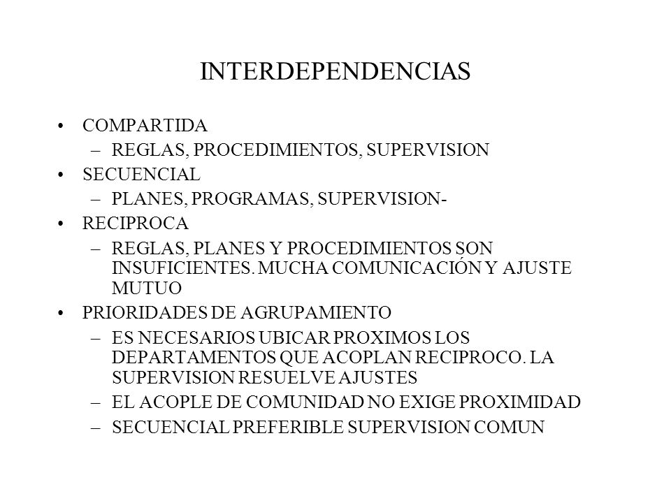 INTERDEPENDENCIAS COMPARTIDA REGLAS, PROCEDIMIENTOS, SUPERVISION
