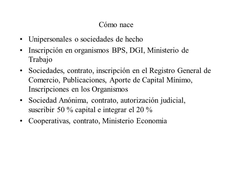 Cómo nace Unipersonales o sociedades de hecho. Inscripción en organismos BPS, DGI, Ministerio de Trabajo.
