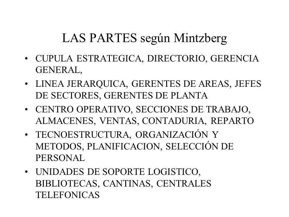LAS PARTES según Mintzberg