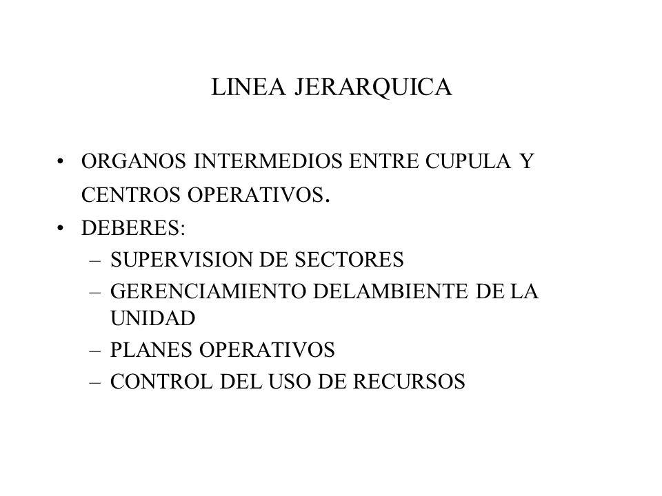 LINEA JERARQUICA ORGANOS INTERMEDIOS ENTRE CUPULA Y CENTROS OPERATIVOS. DEBERES: SUPERVISION DE SECTORES.