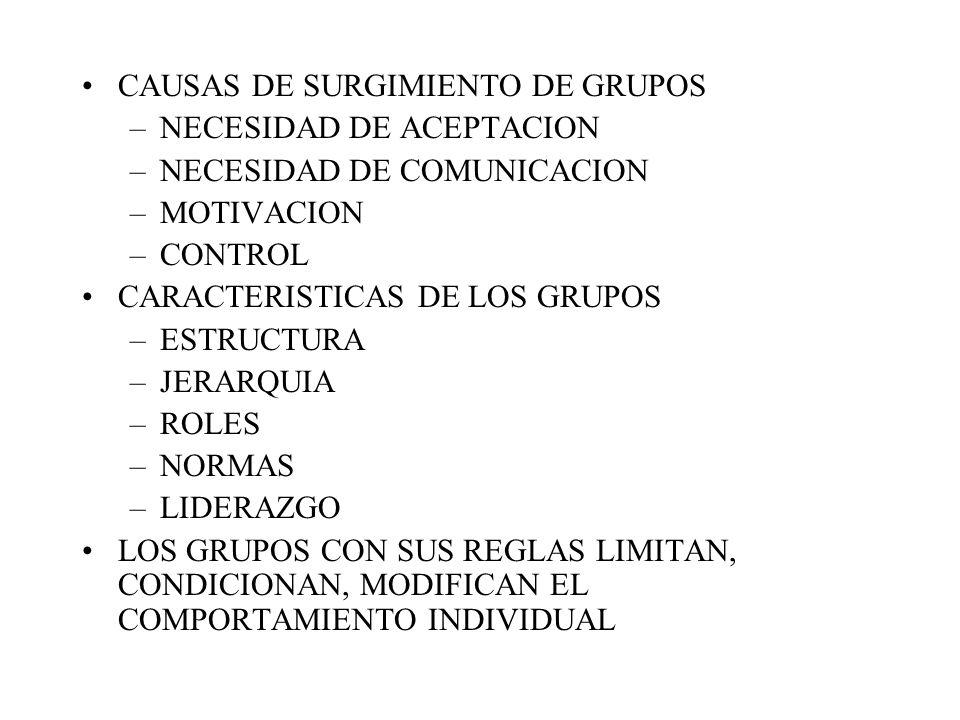 CAUSAS DE SURGIMIENTO DE GRUPOS