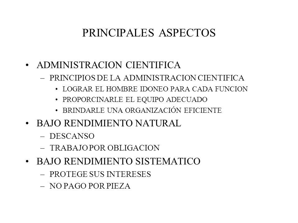 PRINCIPALES ASPECTOS ADMINISTRACION CIENTIFICA