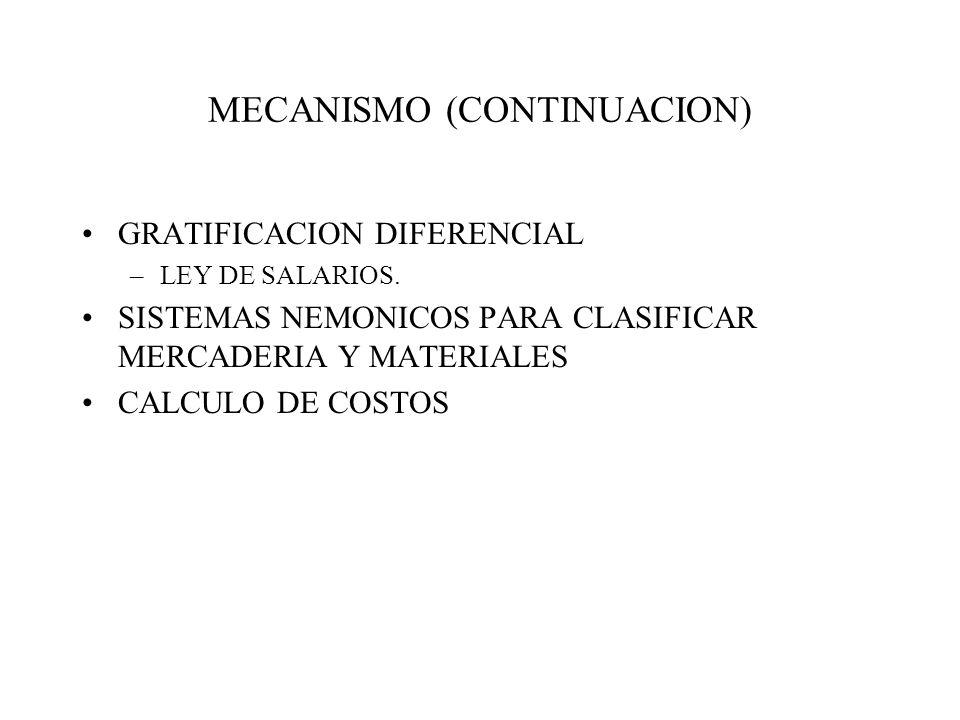 MECANISMO (CONTINUACION)