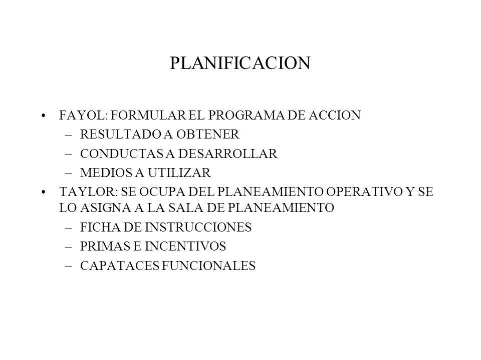 PLANIFICACION FAYOL: FORMULAR EL PROGRAMA DE ACCION