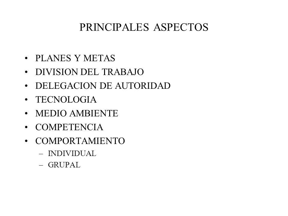 PRINCIPALES ASPECTOS PLANES Y METAS DIVISION DEL TRABAJO